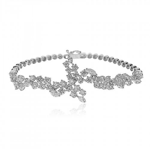 RBC & Marquise Daimond 3.15ct Fancy Cluster Bracelet