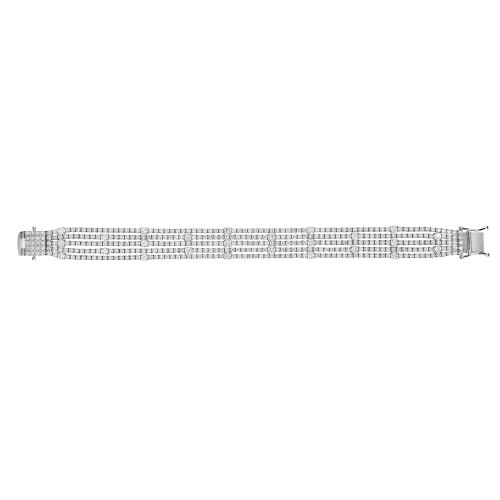 RBC 7.05ct 5 Row With Spaced Out Larger Rounds 4 Claw Line Bracelet