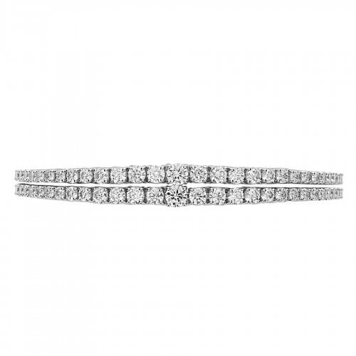 RBC 6.66ct 2 Row Graduated 4 Claw Line Bracelet
