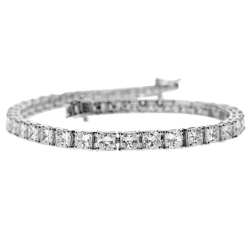 Diamond Princess Cut Claw Set Line Bracelet