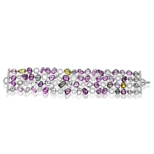 Multi Coloured Sapphire & Diamond Bracelet