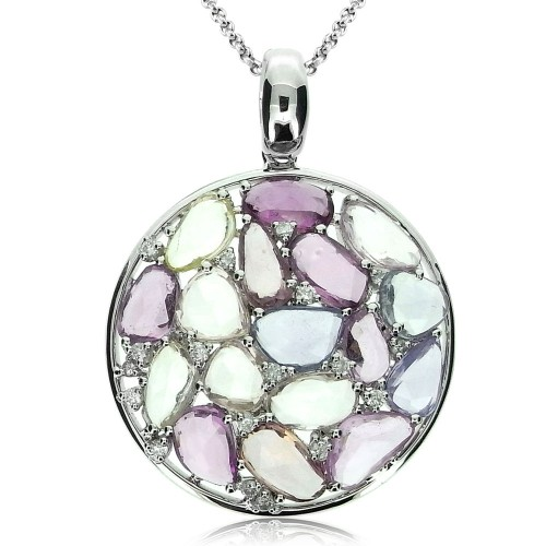 Multi Coloured Sapphire Disc Pendant