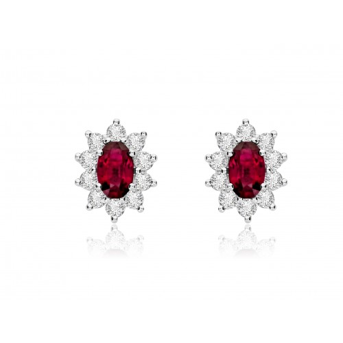 Ruby Oval & Diamond Cluster Earrings