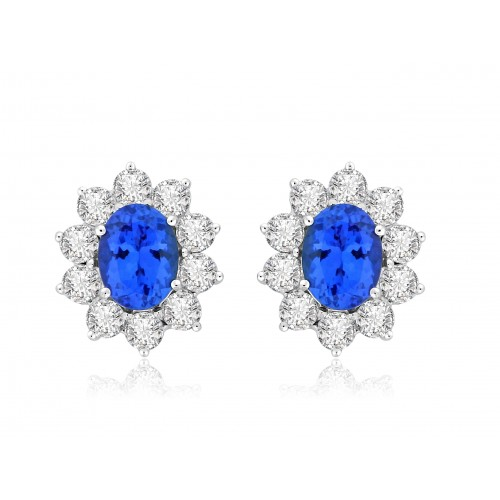 Tanzanite Oval & Diamond Cluster Earrings
