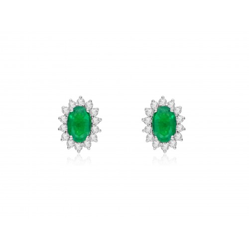 Emerald Oval & Diamond Cluster Earrings