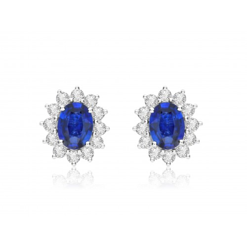 Sapphire Oval & Diamond Cluster Earrings