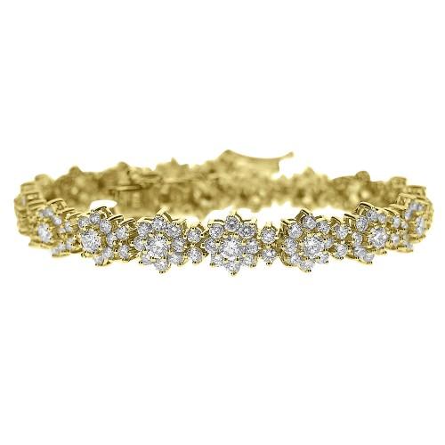 Diamond YG Cluster Bracelet
