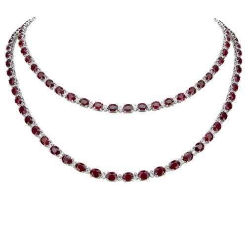 Ruby & Diamond Sautoir Necklace