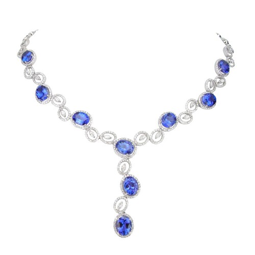 Tanzanite & Diamond Fancy 'Y' Drop Necklace
