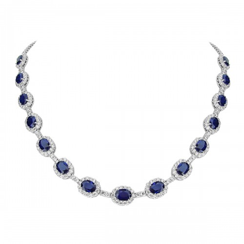 Sapphire & Diamond Surround Necklace