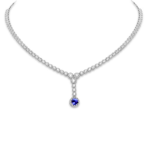 Tanzanite & Diamond Short 'Y' Drop Necklace