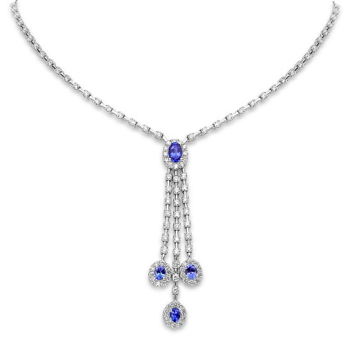 Tanzanite & Diamond 'Y' 3 Drop Necklace