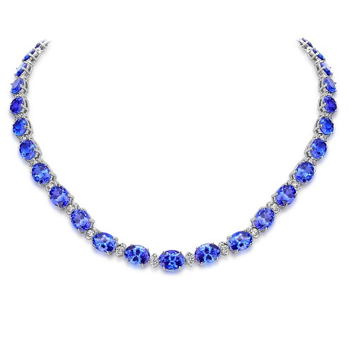 Tanzanite & Diamond Line Necklace