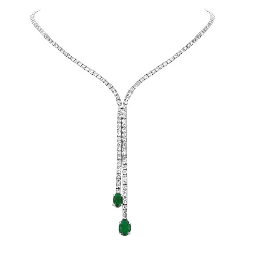 Emerald & Diamond 'Y' Double Drop Necklace