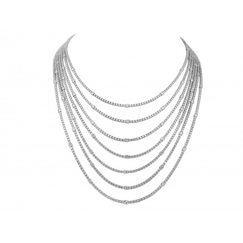 Diamond Fancy 7 Row Multi Line Necklace