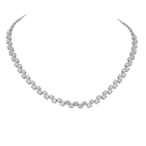 Diamond Step Link Line Necklace