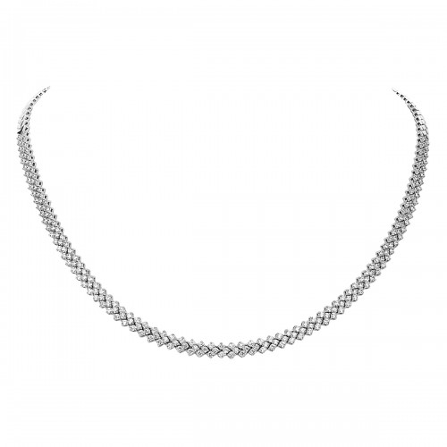 Diamond 'V' Shape Link Line Necklace
