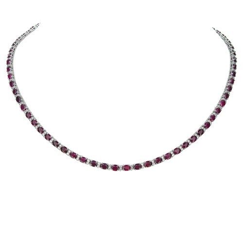 Ruby & Diamond Line Necklace