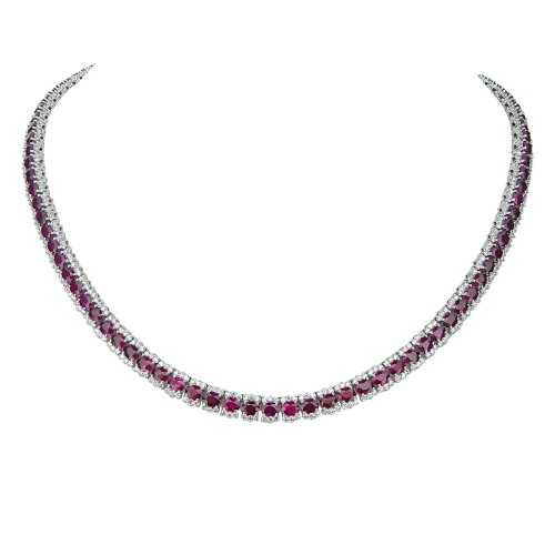 Ruby & Diamond Cluster Necklace