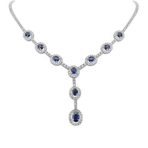 Sapphire & Diamond 'Y' Drop Necklace