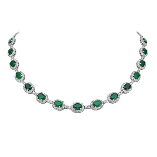 Emerald & Diamond Surround Necklace