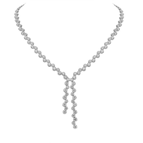 Diamond Fancy Crown Set Double 'Y' Drop Necklace