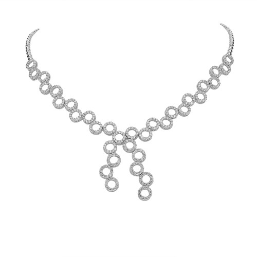 Diamond Fancy Circle Outline Double 'Y' Drop Necklace