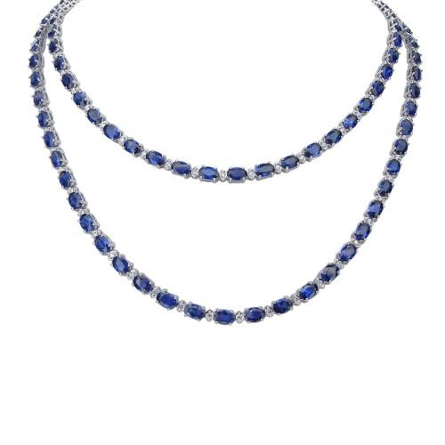 Sapphire & Diamond Sautoir Necklace