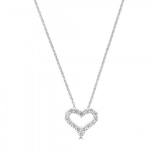 18W Diamond 0.28ct Small Kiss Pendant w/ Chain