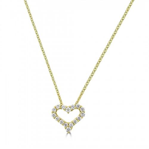 18Y Diamond 0.29ct Small Kiss Pendant w/ Chain
