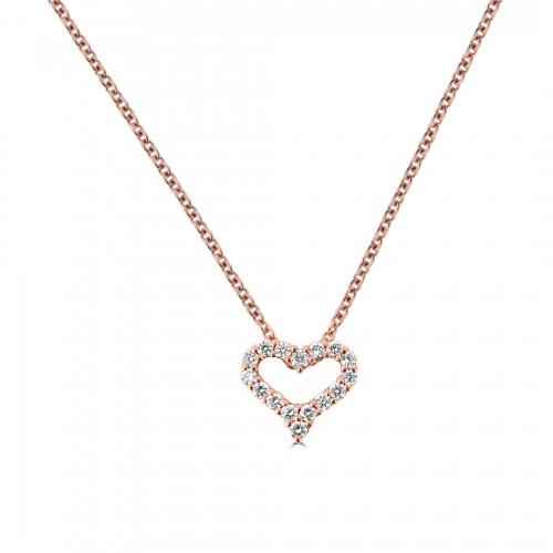 18R Diamond 0.27ct Small Kiss Pendant w/ Chain