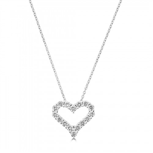 18W Diamond 0.57ct Mid Kiss Pendant w/ Chain