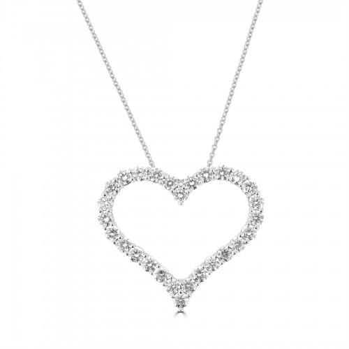 18W Diamond 2.06ct Large Kiss Pendant w/ Chain