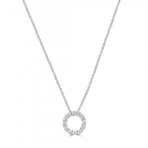 18W Diamond 0.27ct Small Hug Pendant w/ Chain