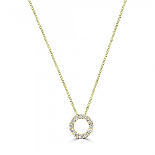 18Y Diamond 0.26ct Small Hug Pendant w/ Chain