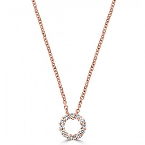 18R Diamond 0.26ct Small Hug Pendant w/ Chain