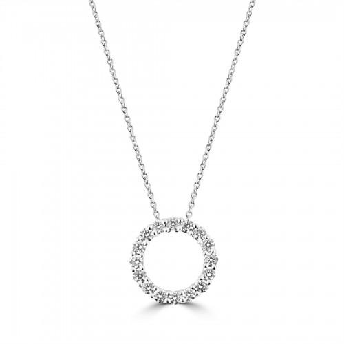 18W Diamond 0.56ct Mid Hug Pendant w/ Chain