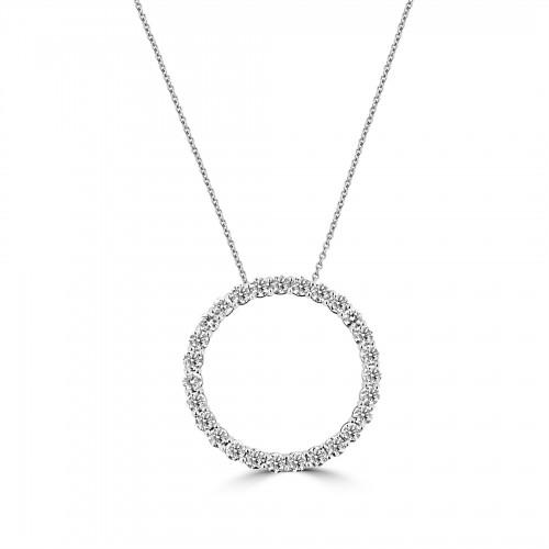 18W Diamond 1.94ct Large Hug Pendant w/ Chain