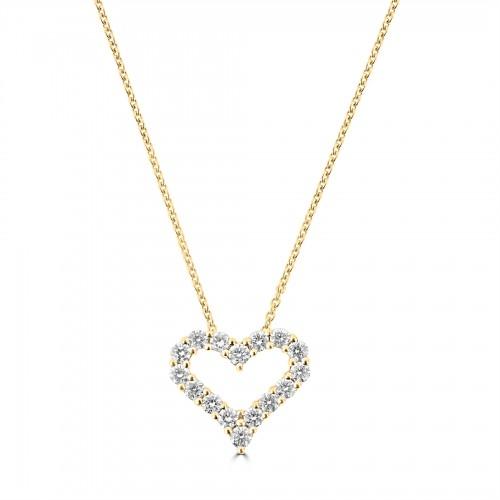 18Y Diamond 0.59ct Mid Kiss Pendant w/ Chain