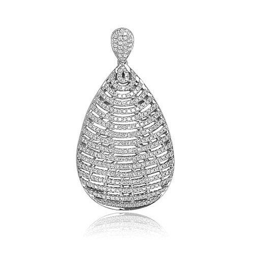 Diamond Pave Pear Drop Pendant