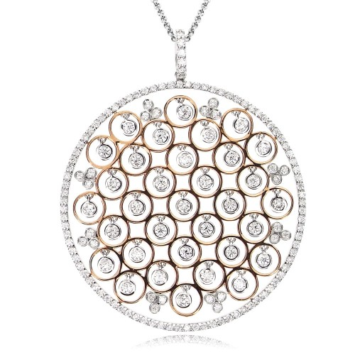 Diamond Outline Disc with Suspended Diamonds Pendant