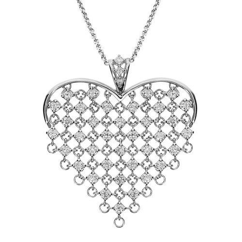 Diamond Linked Heart Shape Large Pendant