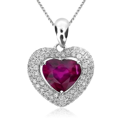 Ruby Heart Shape with Diamond Halo Pendant