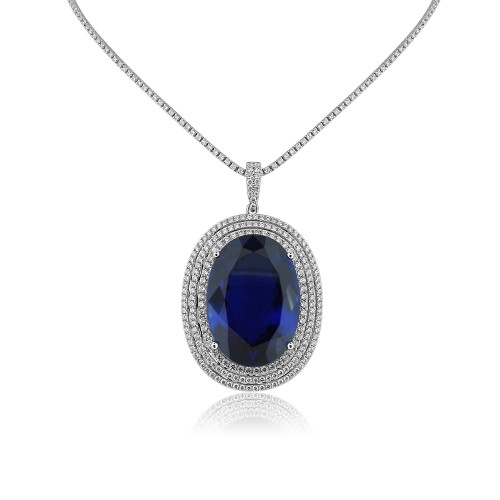 Tanzanite & Diamond 3 Row Halo Pendant