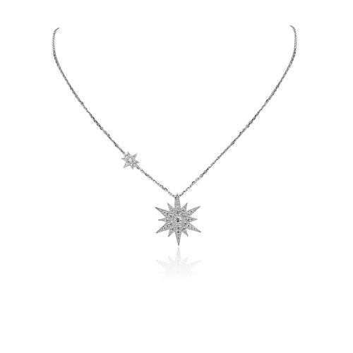 Diamond Star Drop Pendant on Chain