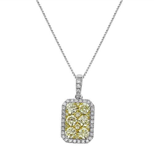 Diamond & Fancy Yellow Diamond Cluster Surround Pendant