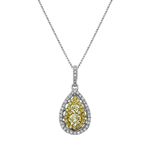 Diamond & Fancy Yellow Diamond Pear Cluster Surround Pendant