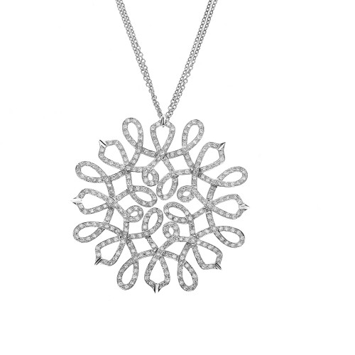 Diamond Pave Intricate Loop Pendant  on Chain