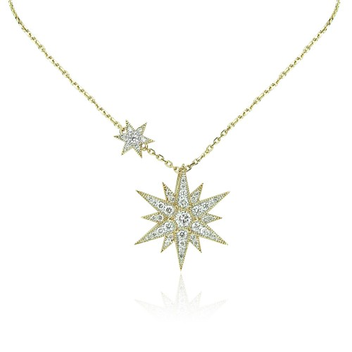 Diamond Star Drop Pendant on YG Chain