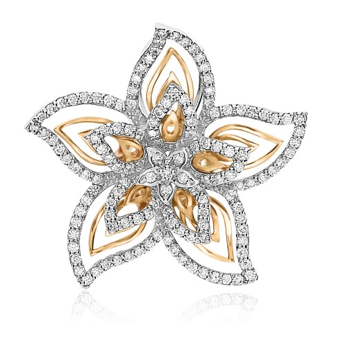 Diamond Star Shape Flower Pendant